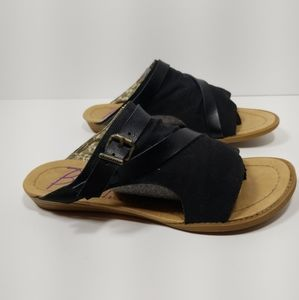 Blowfish Malibu Black Canvas Slip On Sandals  sz 8